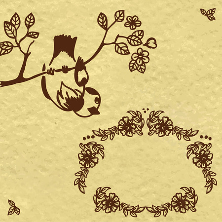 Frame of flowers branches and birds. Stylized drawing.