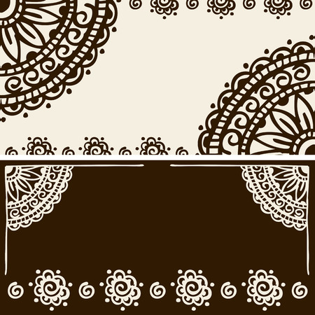 Style traditional Indian mehndi patterns. Lace banner.