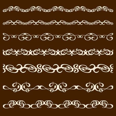 horizontally: Set of vector brushes calligraphy. Seamless horizontally.