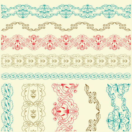 Vector lace brush of calligraphic elements. Set.