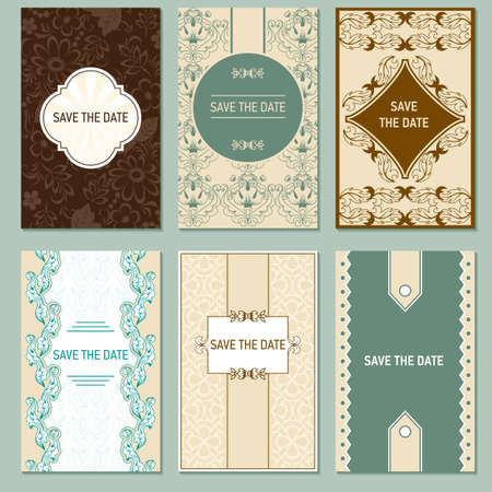 nuptial: Set of vector card templates for Save The Date and any cards, invitations.