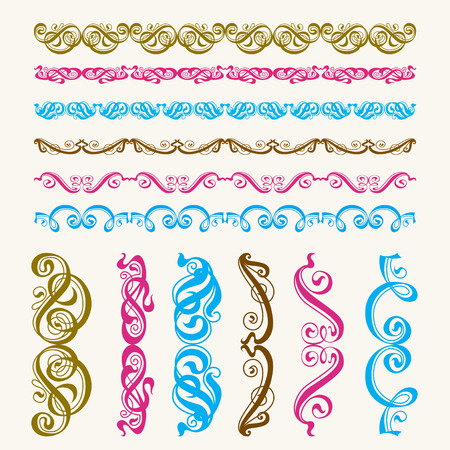 A set of brushes perfect calligraphic elements and scrolls. Illustration