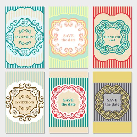 Set of vector card templates for Save The Date and any cards, invitations.
