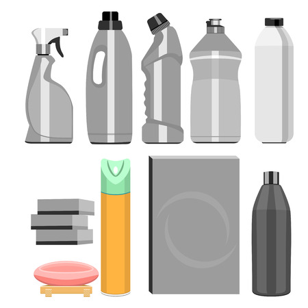 A set of household chemicals, tools for clean home. Illustration