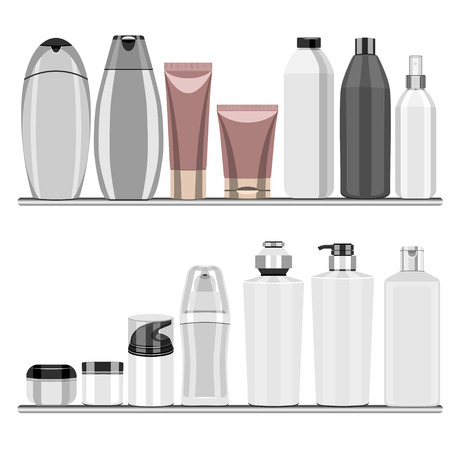 personal care: Set of bottles of perfumes, cosmetics and personal care products.