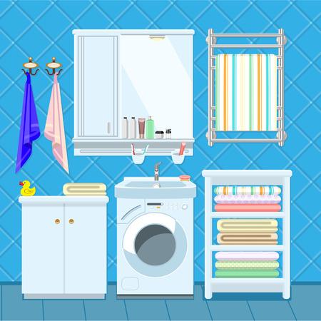 cuarto de baño: Apartamento Baño plantilla de decoración de interiores con fregadero, lavadora y estantes.