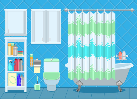 shelf: Apartment Bathroom Interior Decorating template with old-fashioned free-standing bath, toilet and shelves with household cleaning products.