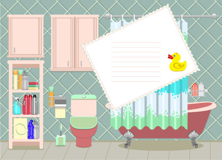shower curtain: Apartment Bathroom Interior Decorating template with old-fashioned free-standing bath, toilet and shelves with household cleaning products.