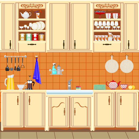 Kitchen in classical style, oven and appliances.