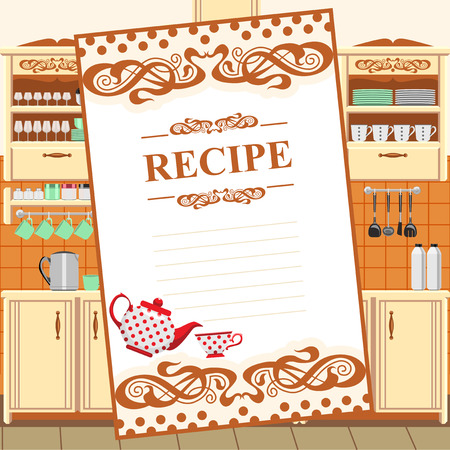 Blank for a recipe on the background of the kitchen environment.