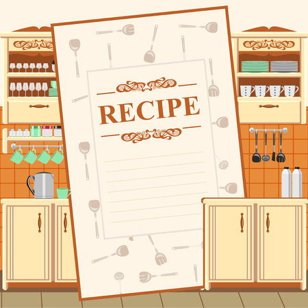 recipe background: Blank for a recipe on the background of the kitchen environment.