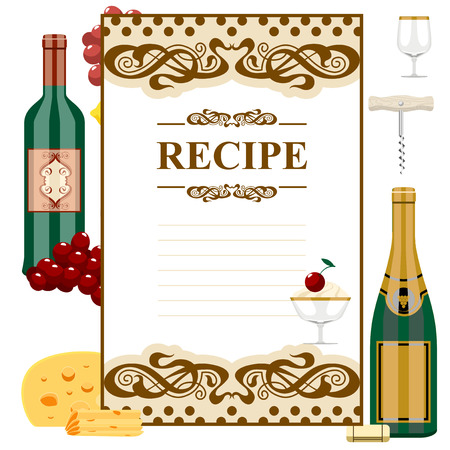 Blank for a recipe, wine list, on the background of glasses for alcoholic drinks. Illustration