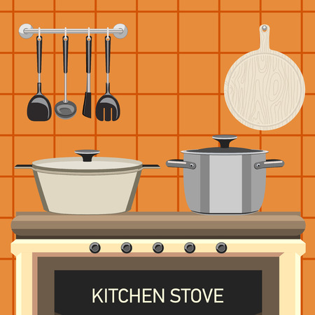 wood stove: Pots on the stove. A set of kitchen tools, wall tiles and a cutting board.