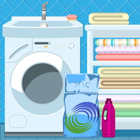 washing powder: Sink and washing machine in the bathroom. Washing powder and detergents.