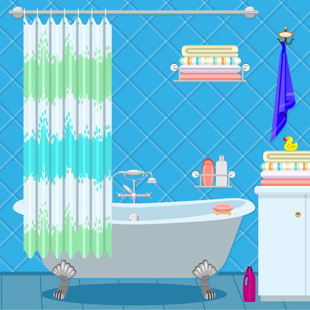bathroom faucet: Bathroom equipment. Bath on the legs of a blue-green curtain. Shampoo and towels.