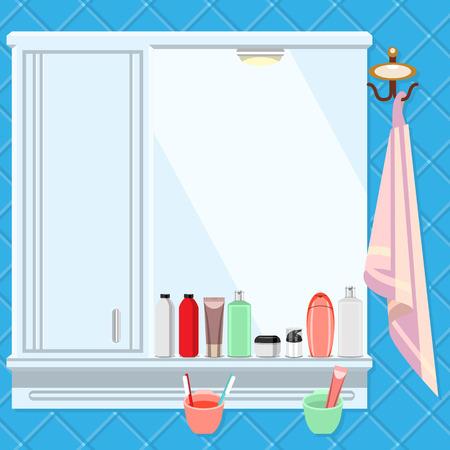 espejo: Estante con un espejo en el ba�o. Todo el lavado y cepillado.