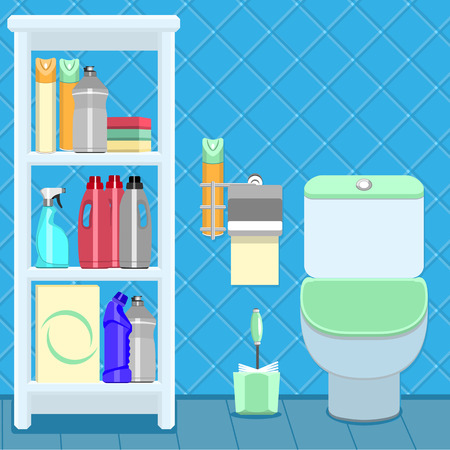 The toilet bowl and shelf with household cleaning products. Tiles on the wall.
