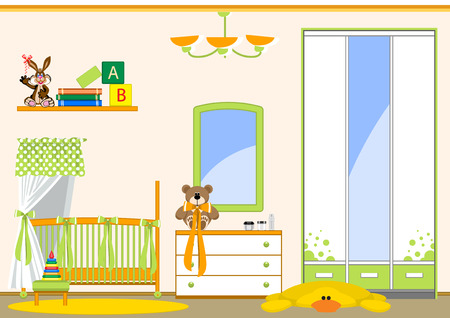 nursery room: Interior childrens room. Toys and various items for the baby.