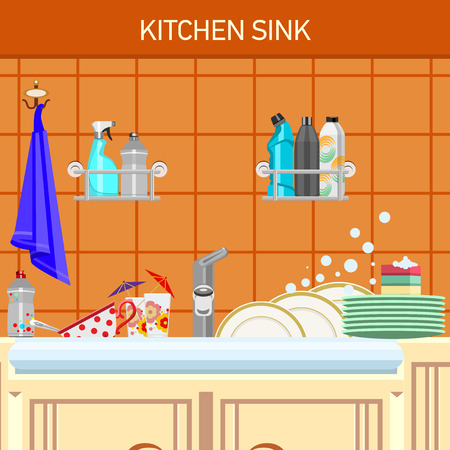 kitchen sink: Kitchen sink and dirty dishes. On a wall shelf with a detergent.