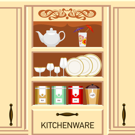 kitchenware: Kitchen shelf, cupboard with kitchenware. Metal cans of tea and coffee.