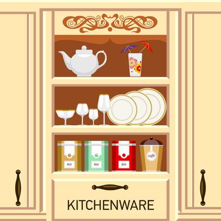ustensiles de cuisine: Étagère de cuisine, placard avec ustensiles de cuisine. Boîtes métalliques de thé et de café.