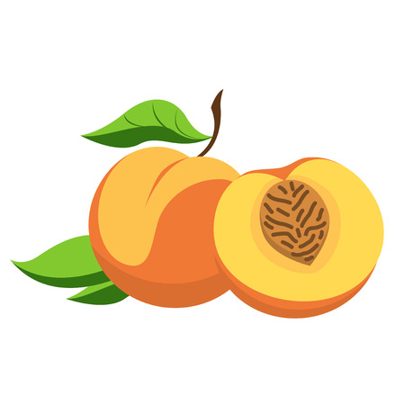 Peach - a fruit with leaves and cut into chunks.