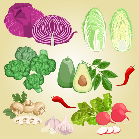 Set of different vegetables on a beige background. Healthy food.