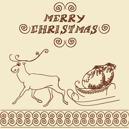 carries: Reindeer harnessed to a sled carries bags of gifts. Illustration