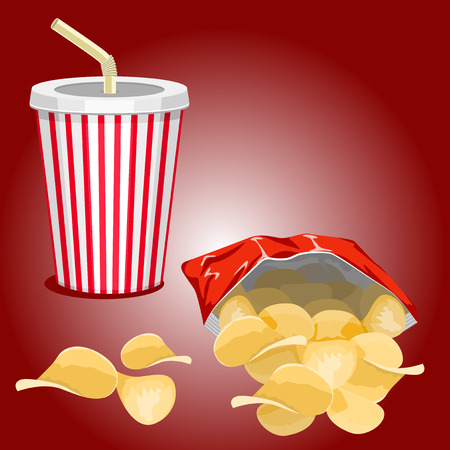 soda: Potato chips and a glass with a drink on a burgundy background. Illustration