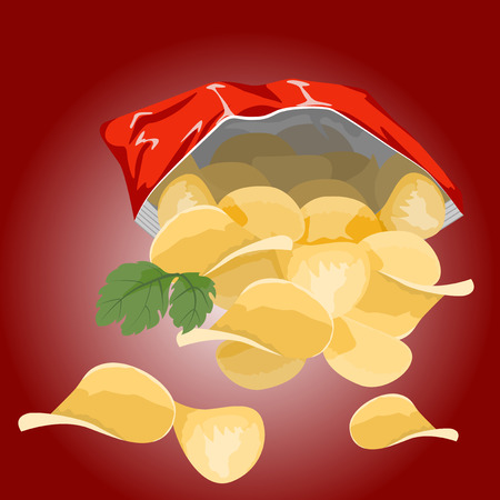 Potato chips in a red bag on a burgundy background.