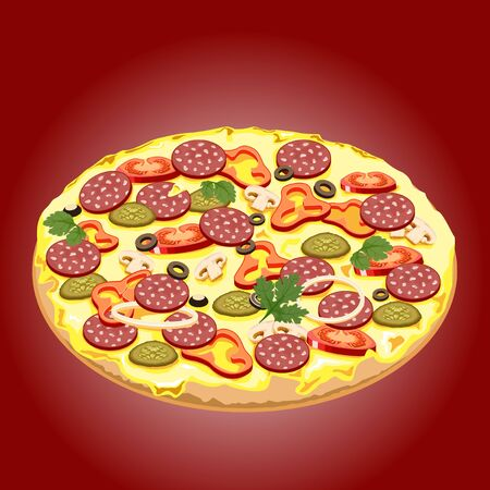 burgundy background: Crispy pizza with sausage and vegetables on a burgundy background.
