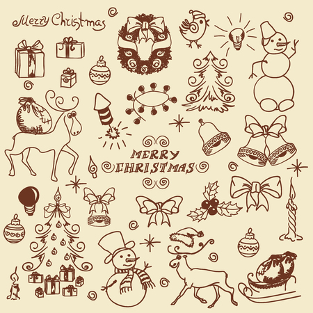 A large set of handwritten doodles Christmas elements.