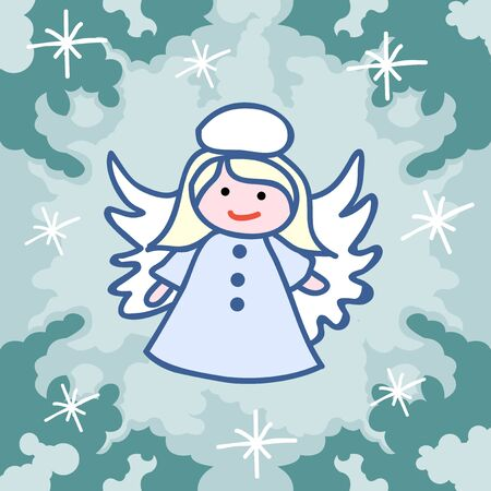 Christmas card template. Christmas angel and holiday items. Illustration