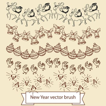 Set of vector brushes. Symbols of Christmas and New Year.