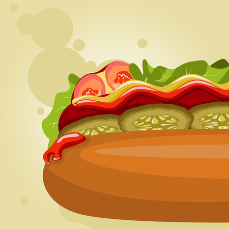 Large part of the hot dog on a beige background. It can be used for flyers and banners. Illustration