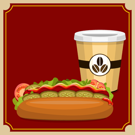 Hot dog with vegetables and a cup of coffee on a burgundy background.