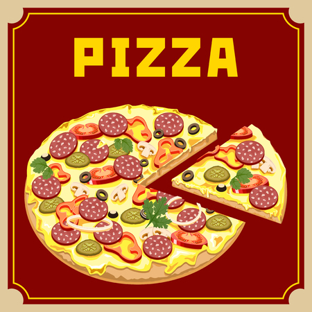 burgundy background: Pizza with sausage and vegetables on a burgundy background. Illustration
