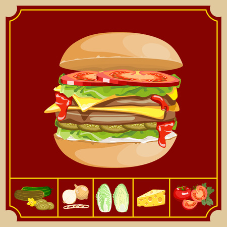 burgundy background: Hamburger with cutlet and vegetables and ingredients on a burgundy background.
