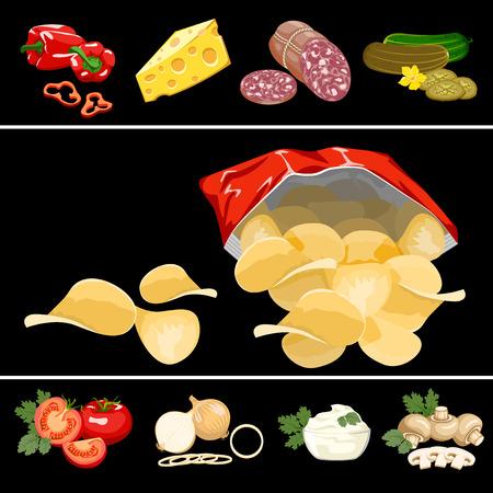 Las papas fritas en una bolsa de color rojo sobre un fondo negro. Ilustración de vector
