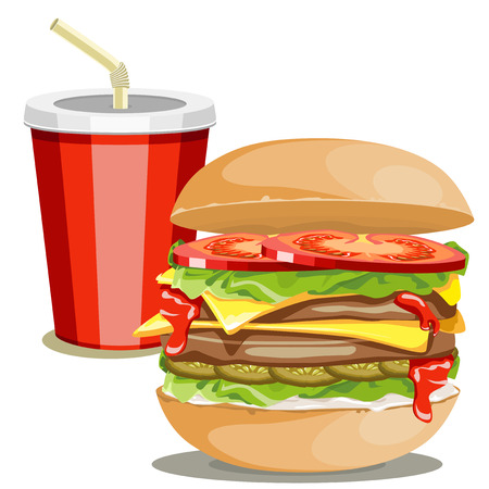 Hamburger with vegetables and drink on a white background.