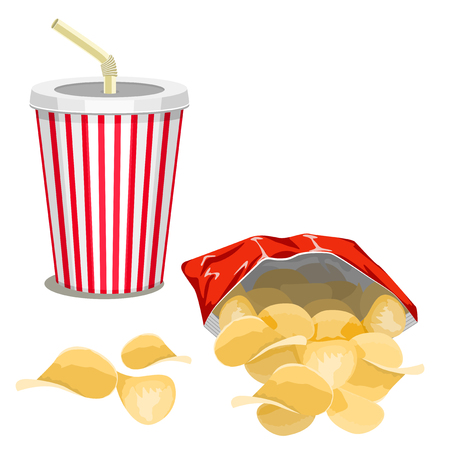 Potato chips in a red bag and a drink on a white background.
