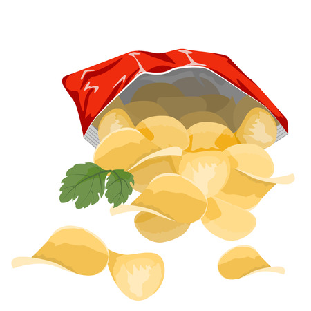 Potato chips in a red bag on a white background.