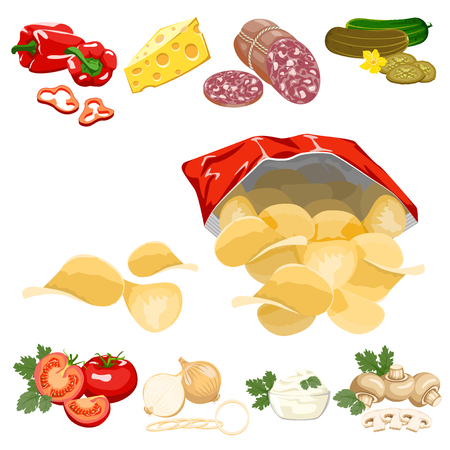 potatoes: Potato chips in a red bag and ingredients on a white background. Illustration