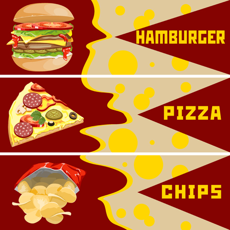 open sandwich: Chips burgers and pizza. Templates for banners.