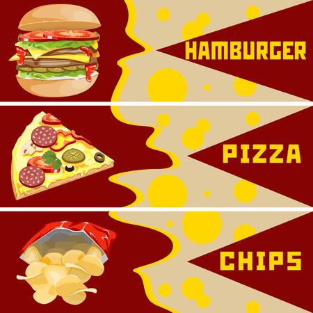 bolsa de pan: Chips de hamburguesas y pizza. Plantillas para las banderas.
