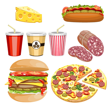 A set of food and drinks fast food on a white background. Illustration