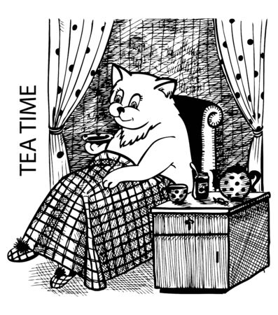 sits: The cat sits by the window, drinking tea with jam. Illustration