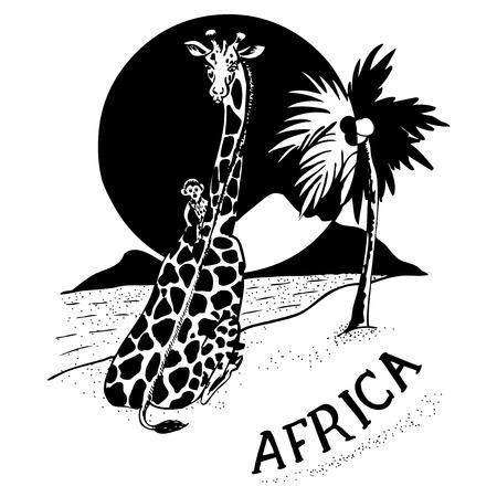 africa sunset: Giraffe and a little monkey at sunset. Landscape Africa. Illustration