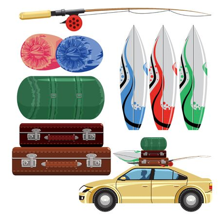loaded: Items for the journey to the sea. Loaded car. Illustration