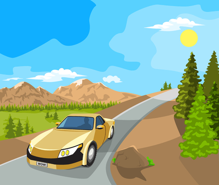 horizon over land: Summer landscape. Mountains, plains and cars on the road. Blue sky.